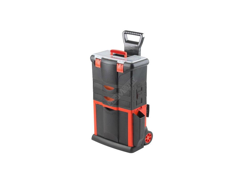 Plastový pojízdný kufr, tažná rukojeť 460x330x730mm s 2x…