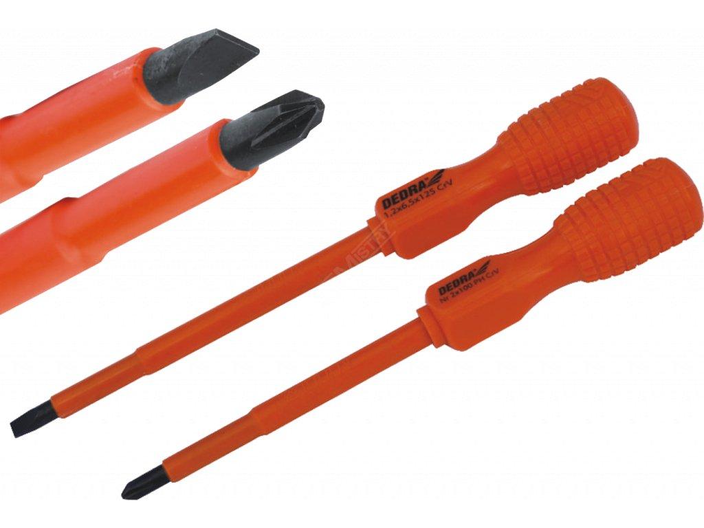 Elektrikářský křížový šroubovák Nr 2 délka 100 mm rukojeť B DEDRA 064B3