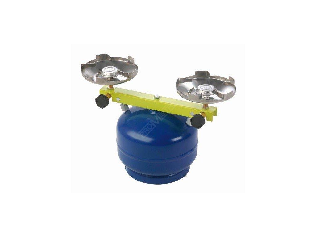 Plynový vařič dvouhořákový na malou PB lahev Meva Táborák