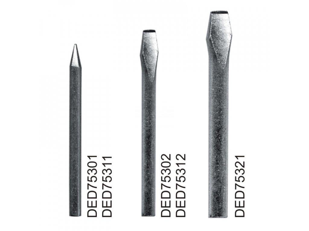 Měděný hrot pro odporovou pájku DED7531, plochý hrot, sada 2 ks