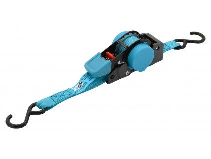 Popruh s ráčnou a háky samonavíjecí 100daN 2m TÜV BLUE WAY Compass 02260