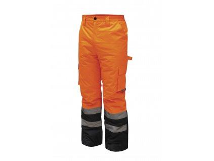 Reflexní zateplené kalhoty vel. XXXL, oranžové DEDRA BH80SP2-XXXL