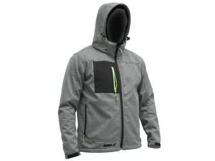 Softshellová bundasss kapucí, velik:M, 96%polyester+4%elast.