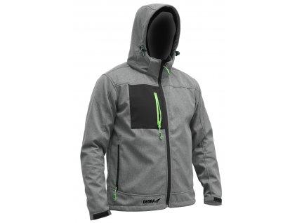 Softshellová bundasss kapucí, velik:XXXL, 96%polyester+4%elast.