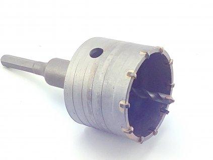 Příklepová vrtací korunka do betonu, průměr 75mm se stopkou 110mm šestihran