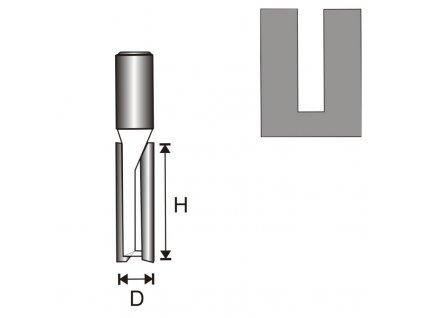 Fréza na dřevo drážkovací 2 destičky, dlouhá T12 D10 H50 mm DEDRA 07F031C