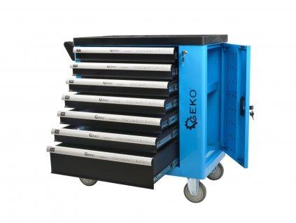 Dílenská skříňka/vozík s výbavou 243ks 7 zásuvek GEKO nářadí G10833