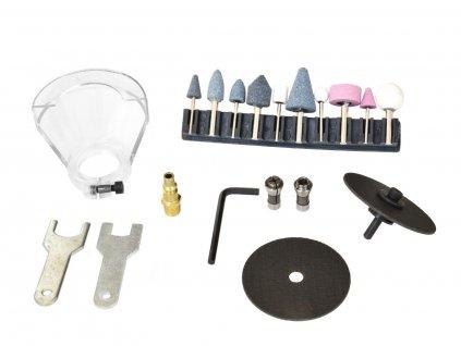 """Pneumatická přímá bruska s příslušenstvím, 3 nebo 6mm, 1/4"""", 18000/min GEKO"""