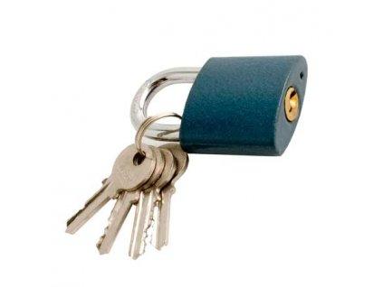 Visací zámek litina 45mm - modrý + 4x klíč
