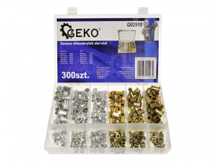 Hliníková nýtová matice + ocel 300 ks GEKO nářadí G02910