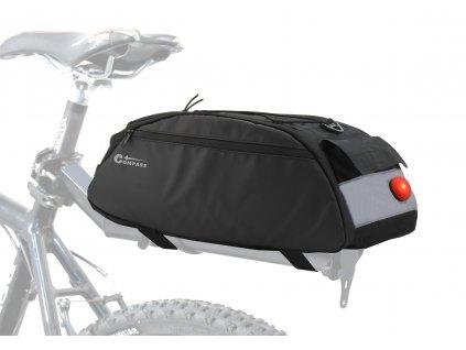Cyklotaška na zadní nosič + zadní LED světlo Compass Bike 12034