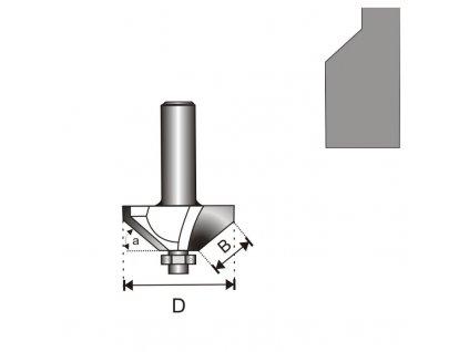 Fréza na dřevo úhlová 45 stupňů s ložiskem T8 D35,5 B15,9 mm