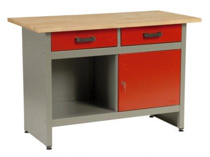 Pracovní stůl do dílny Mars, 2x zásuvka, 1x dvířka