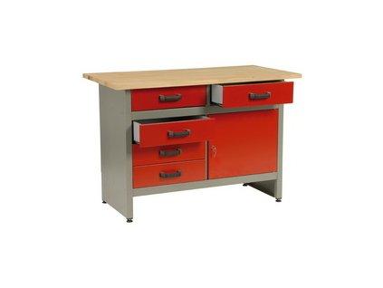 Pracovní stůl do dílny Mars; 5 x zásuvka, 1x dvířka