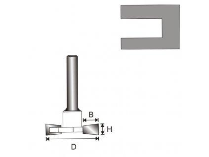 """Fréza na dřevo drážkovací """"T"""" T8 D32 H6,35 B9,4 mm"""