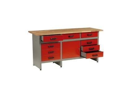 Pracovní stůl do dílny Mars; 9xzásuvka, 1xdvířka - 170x60x80cm