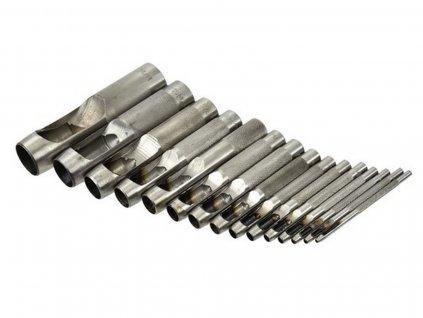 Děrovač kůže, sada 15ks, 2-2,5-3,2-4-4,8-5,5-6,4-8-9,5-11-12,7-14-15,8-19-22mm - bez obalu GEKO