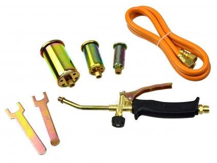 Plynový hořák, 3 koncovky, 25, 35, 50mm, hadice 1,5m GEKO