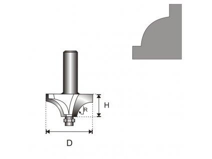 Fréza na dřevo zaoblovací konkávní s ložiskem T6 D22,5 H9 R4, 76 mm