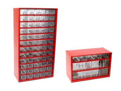 Set skříňek na drobné součástky do dílny Mars; 6750C + 6733C - červená