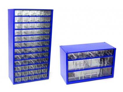 Set skříňek na drobné součástky do dílny Mars, 6750M + 6733M - modrá