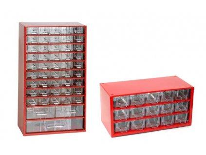 Set skříňek na drobné součástky do dílny Mars, 6744C + 6740C - červená