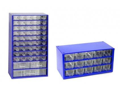 Set skříňek na drobné součástky do dílny Mars, 6744M + 6740M - modrá