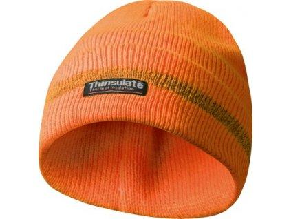 Reflexní zimní pracovní čepice, materiál THINSULATE - oranžová
