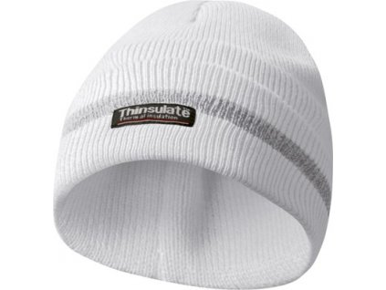 Reflexní zimní pracovní čepice, materiál THINSULATE - bílá