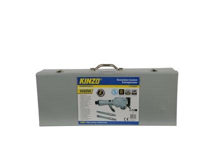 Elektrické bourací kladivo 1400W, úder 30 J + plechový kufr s příslušenstvím KINZO 71790