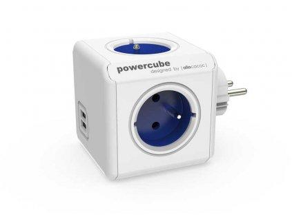 Rozbočka do zásuvky ORIGINAL USB bílá /modrá POWERCUBE 82262