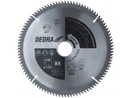 Kotoučová pila na dřevotřískové a dřevovláknité materiály 100z průměr 205x30 mm DEDRA H205100