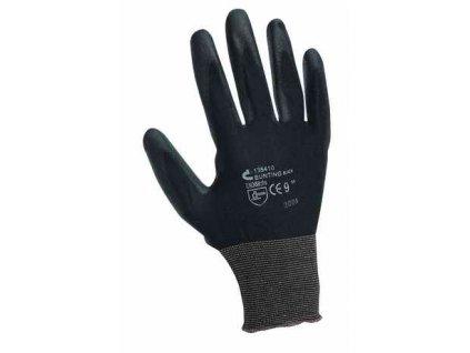 Rukavice nylonové PU dlaň Bunting black - velikost 10