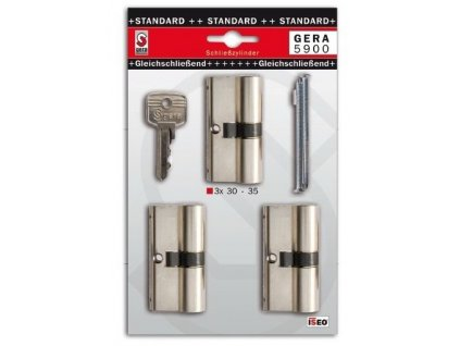 3x cylindrická vložka zámku STANDARD 30-35 mm s 6 klíči (F3) ISEO GERA5900SET3