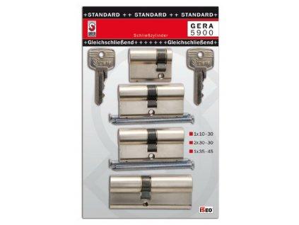 4x cylindrická vložka zámku STANDARD 1x30-10, 2x30-30, 1x35-45 mm s 6 klíči (F3)