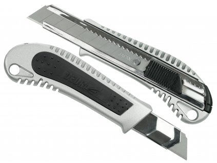 Kapesní pracovní nůž 18 mm kovový + guma, břit odlamovací DEDRA M9017