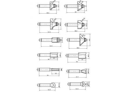 Sada stopkových fréz do dřeva 8mm - 12 ks
