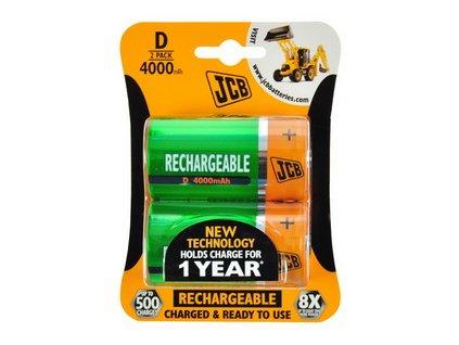 JCB RTU NiMH D/R20, 4000mAh, přednabitá baterie, blistr 2 ks