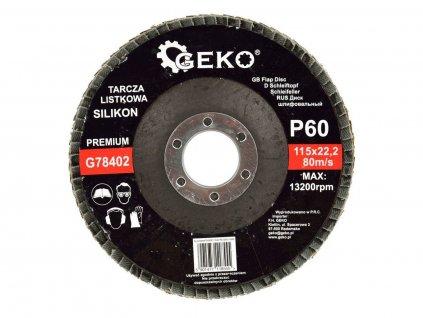 Brusný lamelový kotouč (karbid křemíku) - 115x22,23 mm / P60 GEKO nářadí G78402