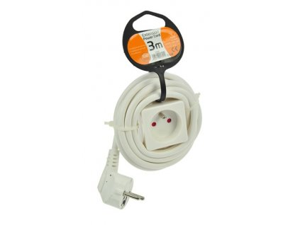 Prodlužovací přívod - spojka, 1 zásuvka, klips na uchycení, bílá, 3m