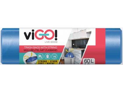 Pytle do odpadkových košů zatahovací HDPE 60l/10 ks 60x70cm - modré