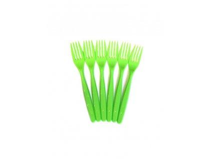 Plastová vidlička zelená 6 ks