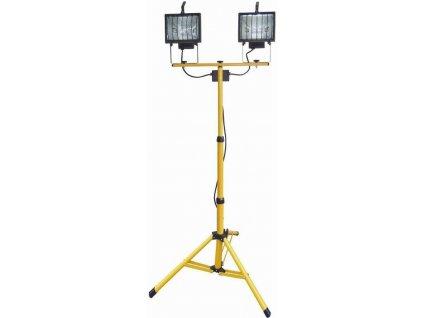 Halogen se stativem 2x500W, výška 1-1,75 m  s ochrannou mřížkou MAGG R6502-CR