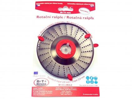 Rotační rašple do úhlové brusky 115x22,2mm - standard čepel 2,0mm ROTO Kruna ROTO11520