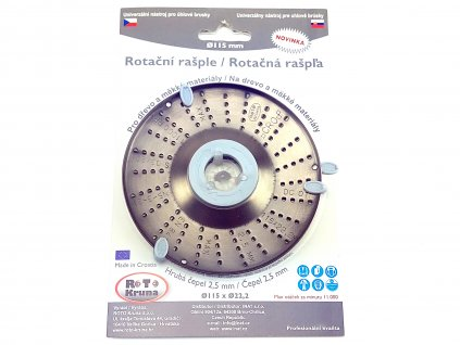 Rotační rašple do úhlové brusky 115x22,2mm - hrubá čepel 2,5mm ROTO Kruna ROTO11525