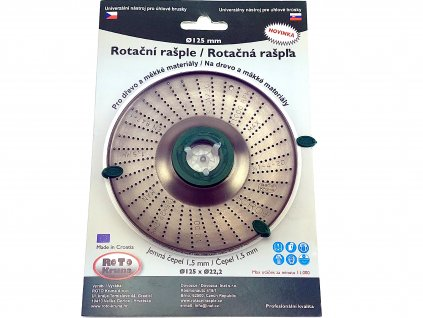Rotační rašple do úhlové brusky 125x22,2mm - jemná čepel 1,5mm ROTO Kruna ROTO12515