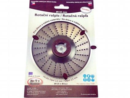Rotační rašple do úhlové brusky 125x22,2mm - hrubá čepel 2,5mm ROTO Kruna ROTO12525