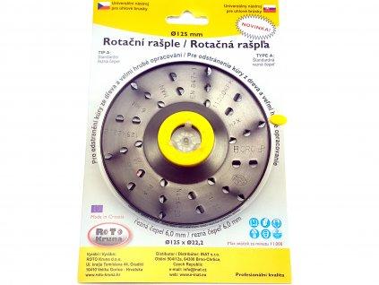 Rotační rašple do úhlové brusky 125x22,2mm - extra hrubá čepel 6,0mm, typ A ROTO Kruna ROTO1256A