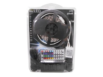 LED pásek 5m, 60LED/m, 5050, RGB, adaptér, dálkový ovladač