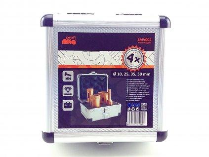 Vykružovací korunky do obkladů ze závitem M14 pro úhlové brusky- 10, 25, 35, 50 mm MAGG PROFI SMV004  + oblíbená sada vrtacích korunek v praktickém kufříku